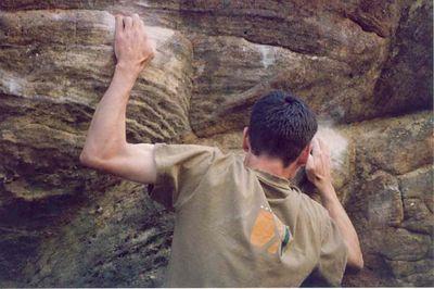 Nick bouldering at Andersens.