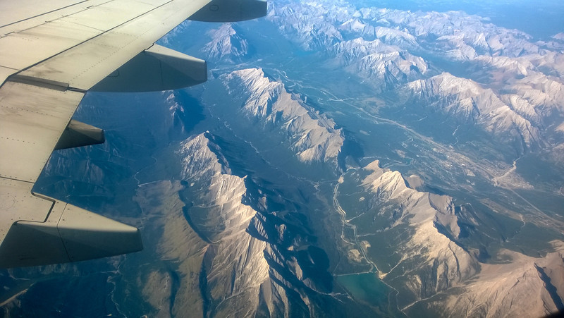 Flying out from Calgary - perfect views of the Bow Valley